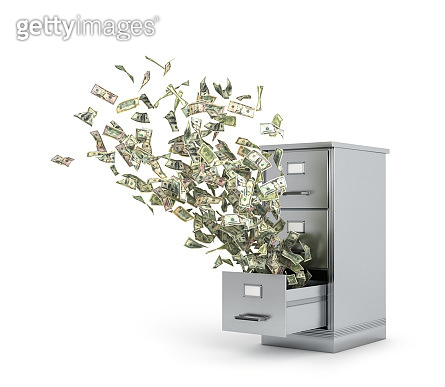 Flying money from a locker to store documents. 3d illustration