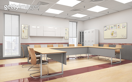 Modern classroom with wood floor. High school. 3d illustration