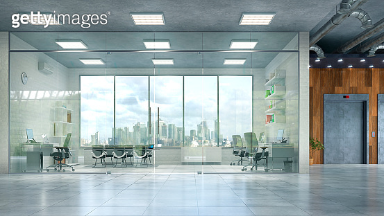 Modern office interior. 3d illustration
