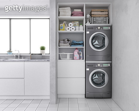 Laundry room with wood floor, washing machine at closet,grey wall, shelving and clothes. 3d illustration