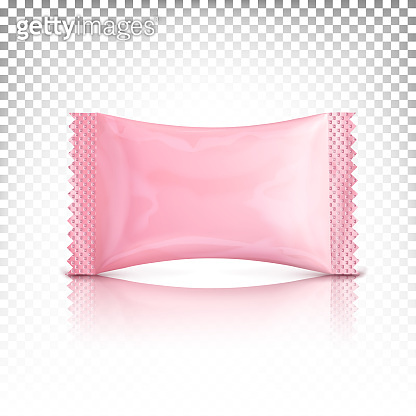 Mini packaging pink rectangular, sachet, stick. Vector mock up, template for design presentation. Top view.