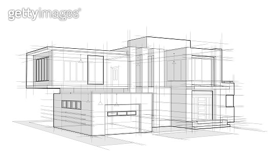 Two-storey house with a garage architectural sketch on a white background
