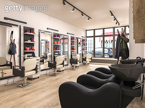 modern hairdressing salon interior, 3d illustration