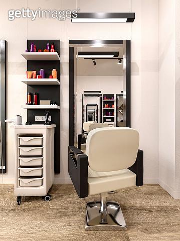 modern hairdressing salon interior, 3d illustration