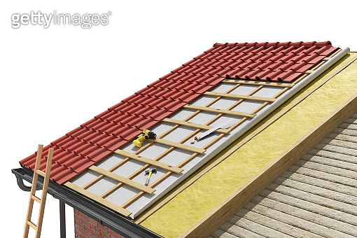 Layered scheme of roofing works, 3d illustration