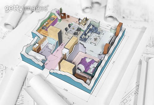 Sliced house with interior ,blueprints and colored walls on a white background . 3d illustration