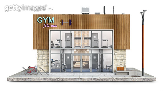 Frontal view on modern gym and fitness on a piece of ground, 3d illustration