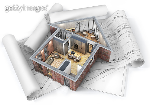 Sliced house with interior in form of house  on a white background with blueprints. 3d illustration