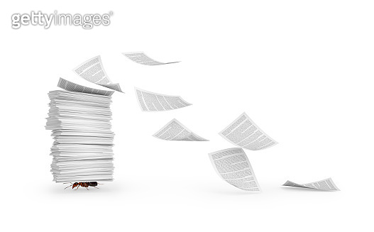 Documents. An ant carries a stack of paper. 3d illustration