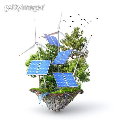 Eco energy. Solar panels with wind stations on the island. 3d illustration