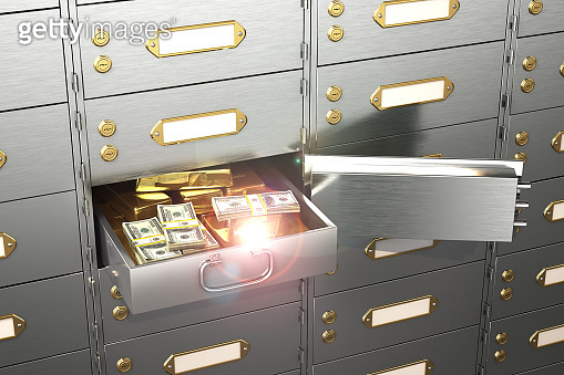 safe with an open cell, full of hundred-dollar bills and gold bars. 3d illustration