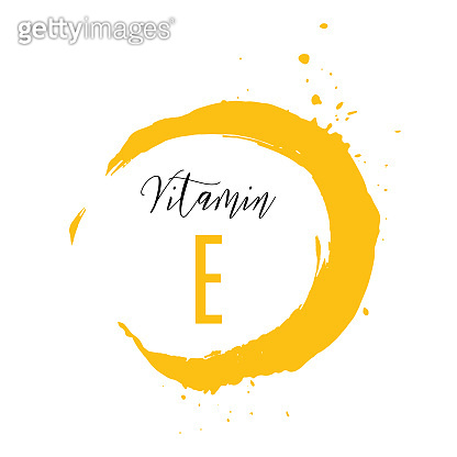 Vitamin E watercolor logo. Yellow ink splash with hand drawn lettering icon.