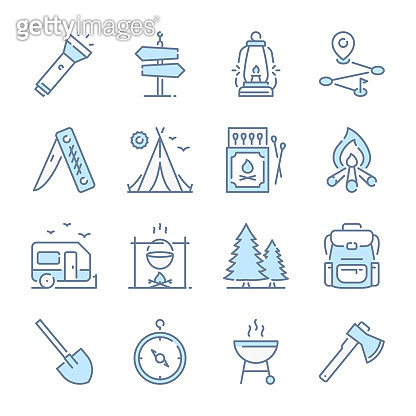 Camping activities, Travel, Tourism and Camp appliances related blue line colored icons.