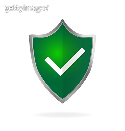 Modern flat icon with green approved shield. Isometric vector. Shield icon vector. Data secure.