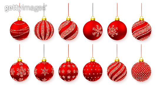 Red shiny glitter glowing and transparent Christmas balls. Xmas glass ball. Holiday decoration template. Vector illustration