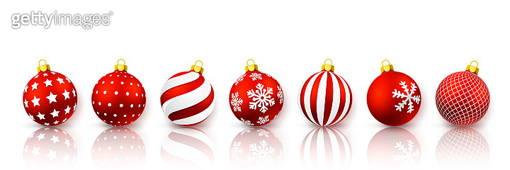 Red Christmas ball set. Xmas glass ball on white background. Holiday decoration template. Vector illustration