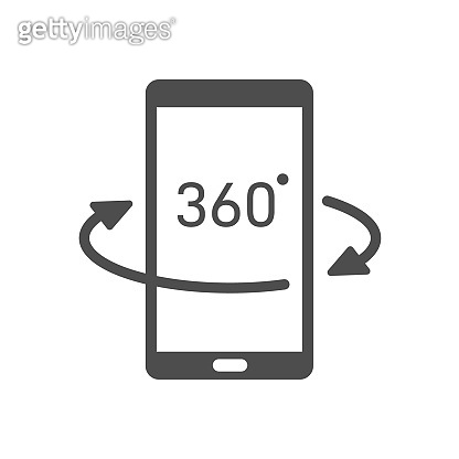 360 view vector icon isolated on white background. VR and AR technology on smartphone. Augmented reality futuristic technology concept. 360 panoramic view