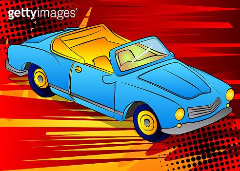 Illustration of a cool girlish cabriolet Car.