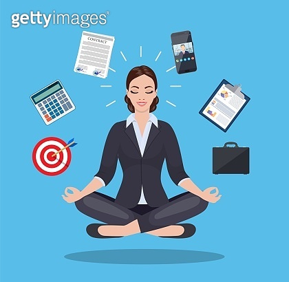 businesswoman meditating, time management,