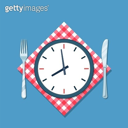 Plate with clock, fork and knife icon