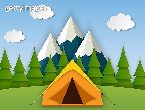 Summer camp. Landscape with yellow tent,