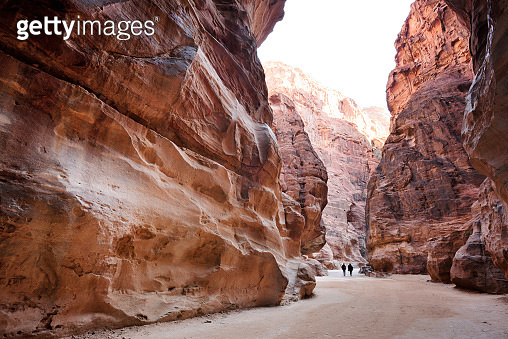 Narrow passage of rocks of Petra Canyon