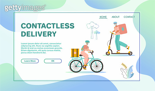 Woman and man couriers with packages on bicycle or kick scooter