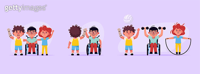 Disabled children and friends. Boys in wheelchair, prosthetic arm