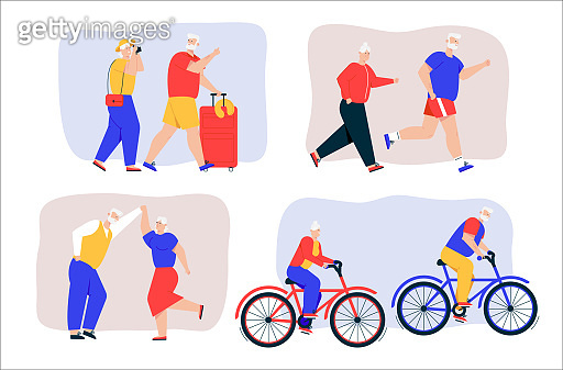 Grandparents active lifestyle scenes set