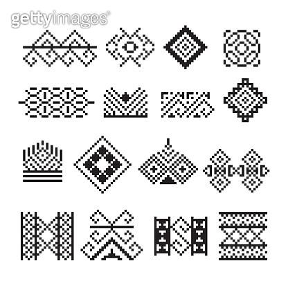 Thai pixel ornament, vector set