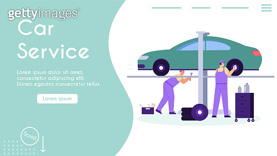 Vector banner of car service and maintenance concept