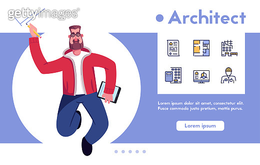 Vector character architect engineer with tools