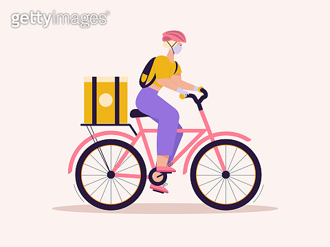 Woman courier with package on bicycle, contactless delivery