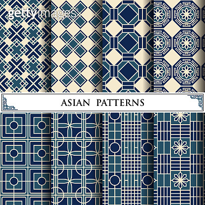 Asian vector pattern for web page background and surface textures