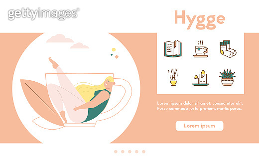 Vector banner of hygge lifestyle, color linear icon set