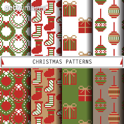 Christmas Patterns. Set of winter holiday backgrounds.