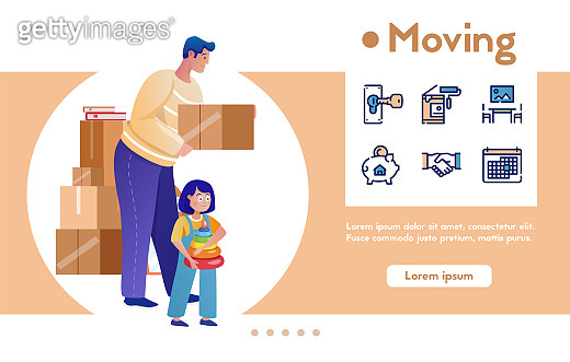 Moving flat vector illustrations set