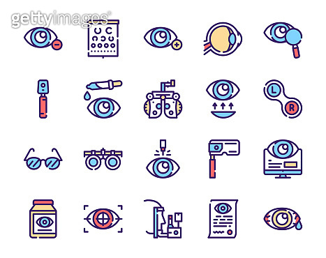 Ophthalmology color linear vector icons set.