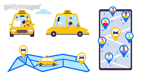 Online taxi or rent transportation set isolated objects