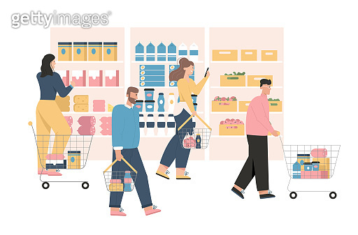 Men and women at grocery or supermarket