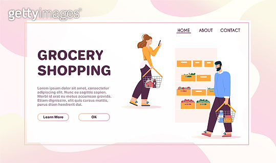 Vector banner of grocery shopping concept, store advertising template
