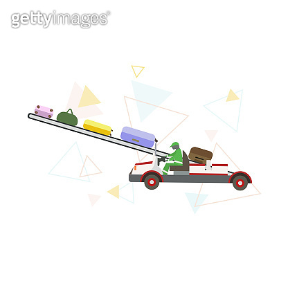 Conveyor belt loading baggage with triangles on white isolated background, vector illustration prints posters, making logos or decor of websites for Airport Transport and Ground Facilities topics.