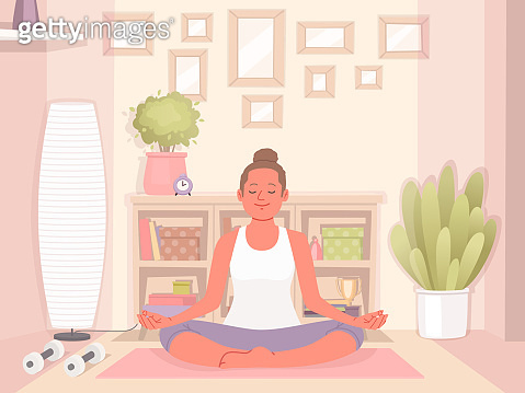Happy woman doing yoga at home. Relaxation and concentration. Healthy and active lifestyle
