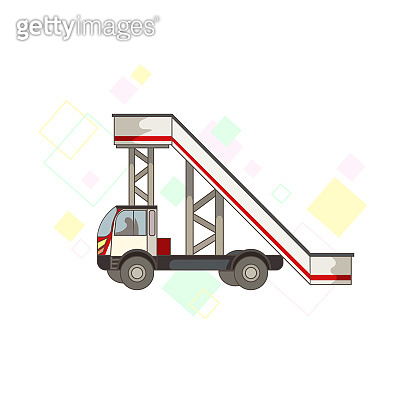Automotive ramp with colorful diamonds on white isolated background, vector illustration for making prints, posters, pictures for booklets, elements of design showing daily routine in Airport.