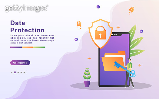 Data protection concept. People secure data management and protect data from hacker attacks. Back up and save important data. Can use for web landing page, banner, mobile app. Vector Illustration.