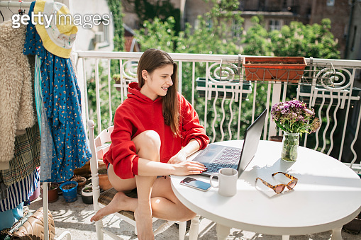 Young entrepreneur woman working from home