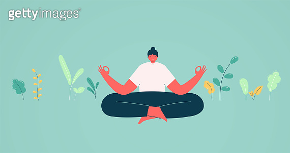 Girl in lotus position meditation. Concept of energy charge and relaxation, business solutions.