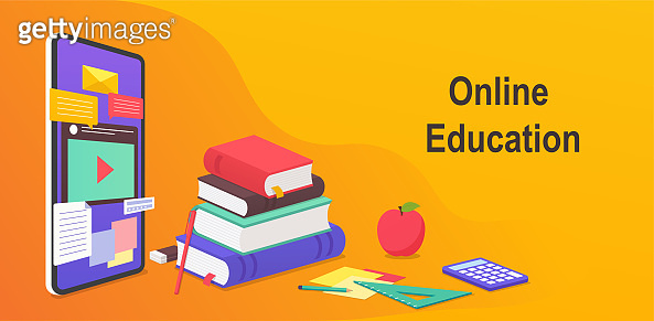 Digital online education, worldwide distance learning concept from mobile site. Smartphone educational webinar, books and study guides, teaching supplies.
