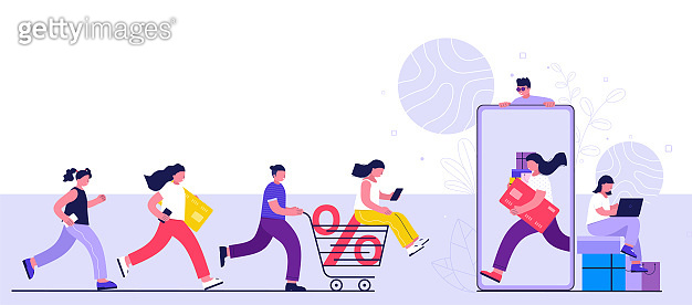 Online shopping concept, consumerism and people. Young people women and men make purchases using a smartphone, laptop.  Landing page template.