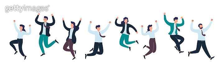 Cheerful group of diverse business people team jumping celebrating victory together. Concept of happy successful people.